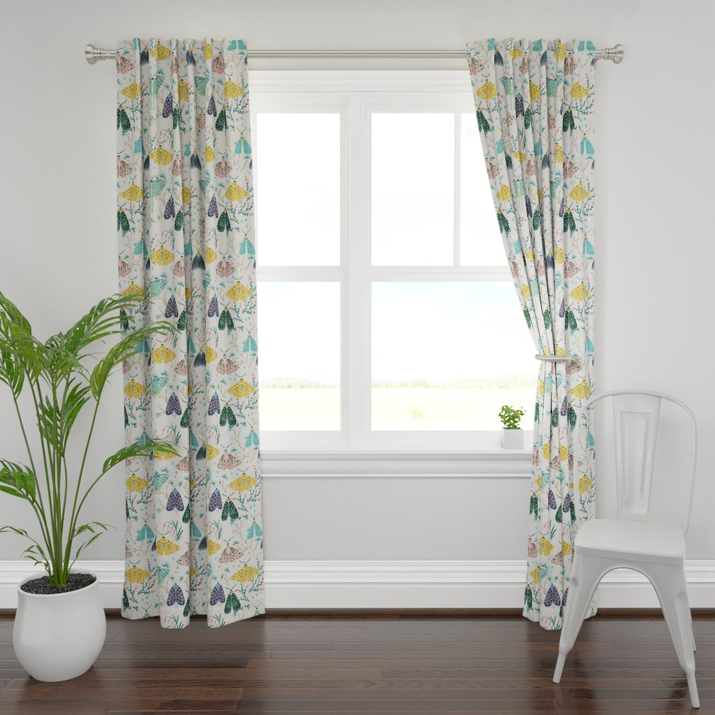 Plymouth Curtain Panel featuring Moths in Pastels by yuanxudesign