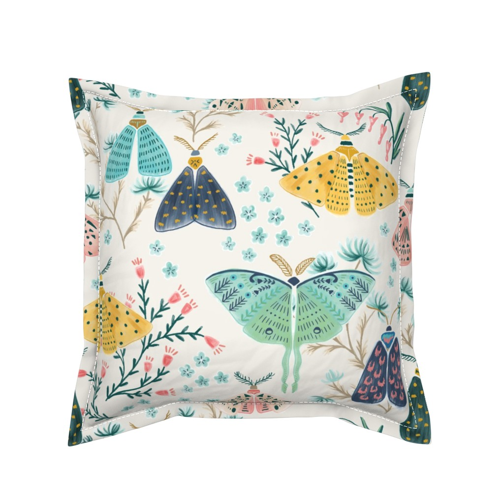 Serama Throw Pillow featuring Moths in Pastels by yuanxudesign