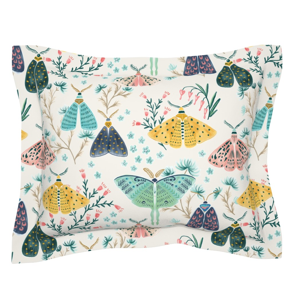 Sebright Pillow Sham featuring Moths in Pastels by yuanxudesign