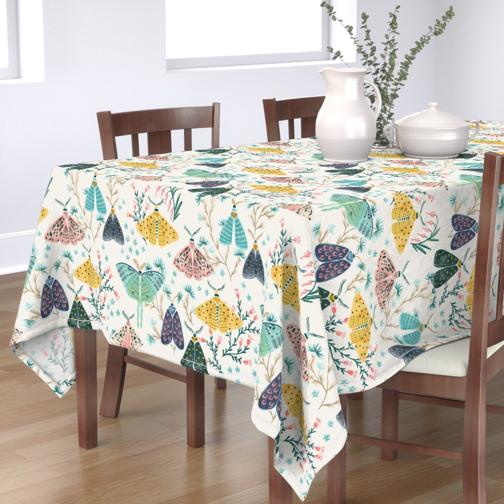 Bantam Rectangular Tablecloth featuring Moths in Pastels by yuanxudesign