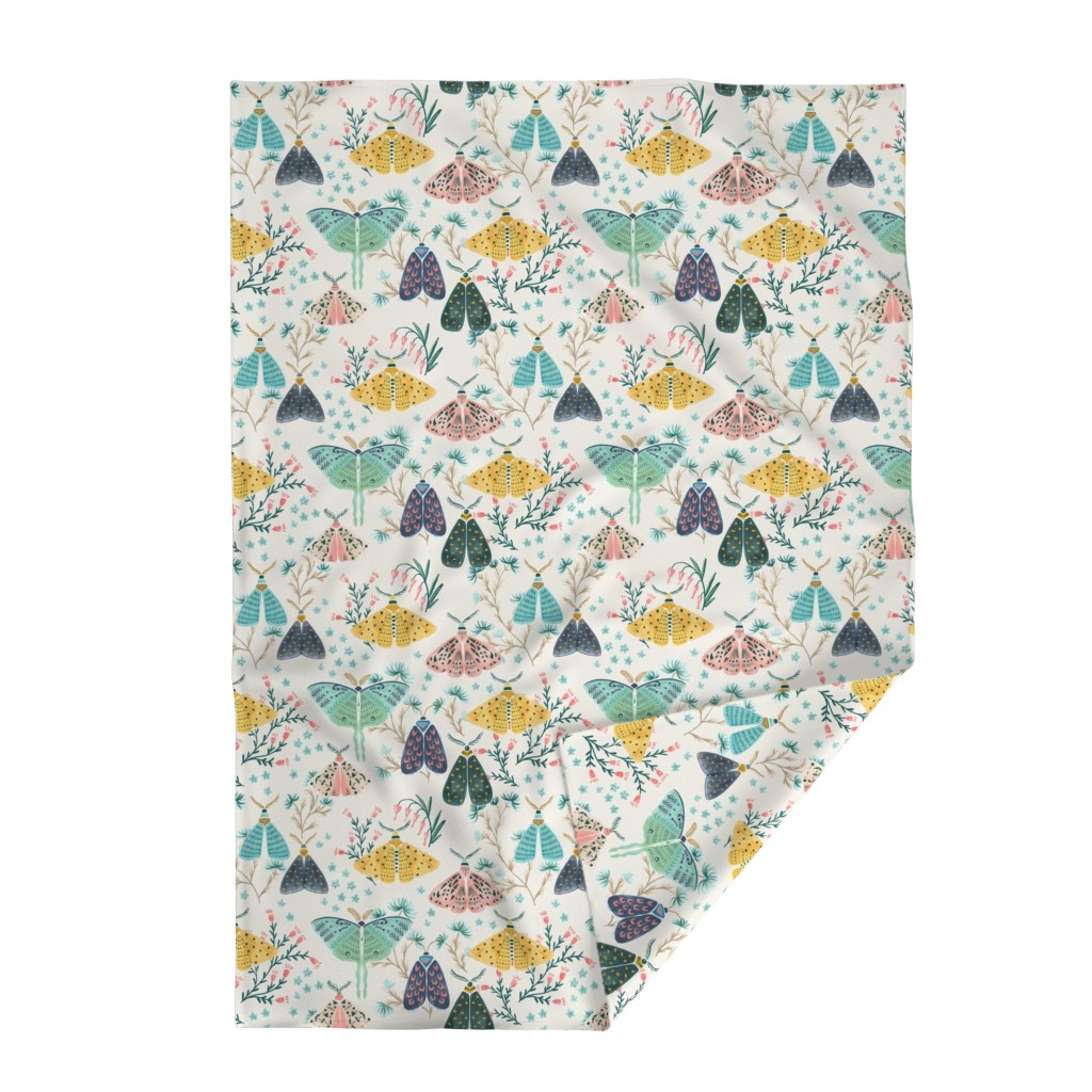 Lakenvelder Throw Blanket featuring Moths in Pastels by yuanxudesign
