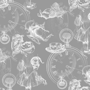 Alice in Wonderland Tea Party in gray and white