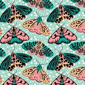 Pastel Moths - Pink/Aqua (small)