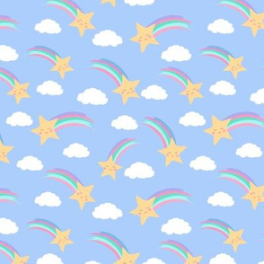 Smiling Shooting Stars and Fluffy Clouds purple