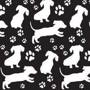 Dachshund Silhouettes & Pawprints, White on Black