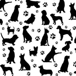 Dog Silhouettes and Paw Prints - Small