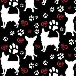 Chihuahua Silhouettes Pawprints Hearts BLACK