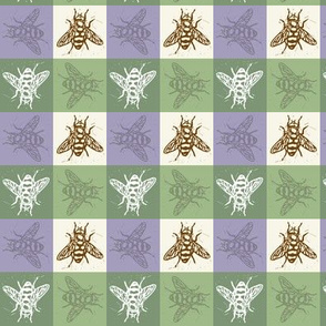Busy Bee Gingham - Lavender and Sage - Brown Bees