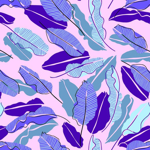 Botanical leaves pink and blue Hawaii