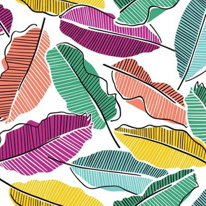 Tropical rainbow banana leaves