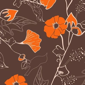 Autumn bird and flowers in brown and orange