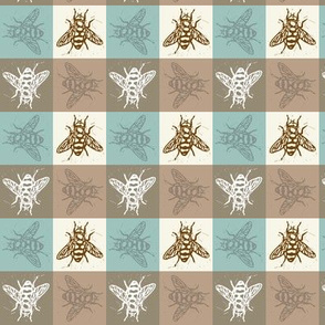 Busy Bee Gingham - Aqua and Clay - Brown Bees