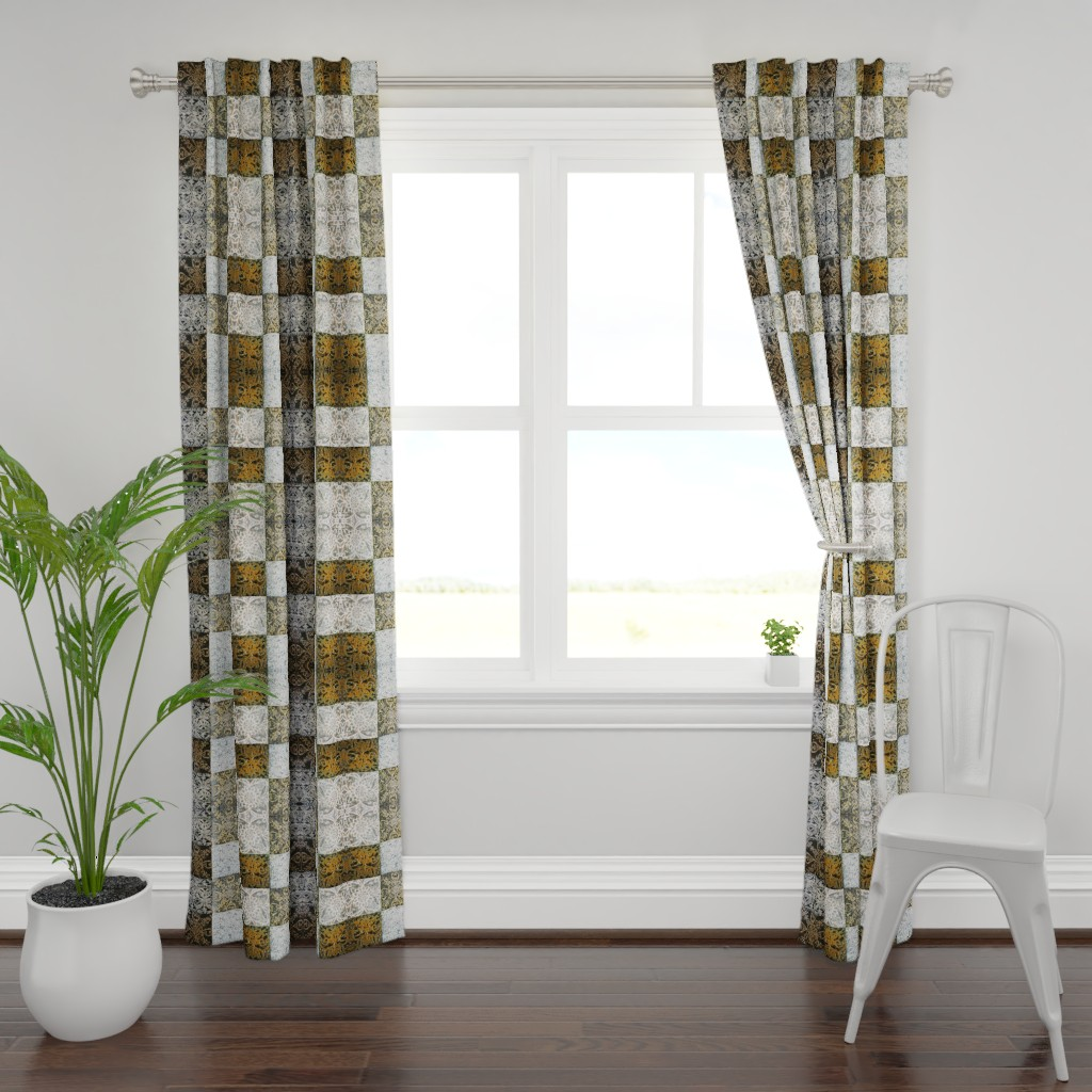 Plymouth Curtain Panel featuring Art Deco Squares   by maria_pezzano