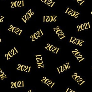 Gold 2021 On Black (Script Font)