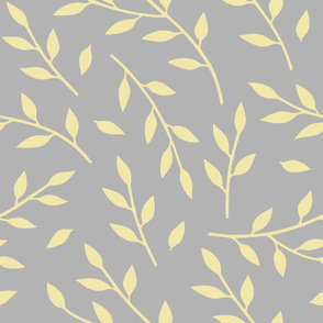 Leafy branches - Large - yellow on gray - Neutral Retreat