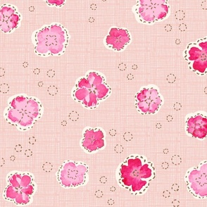 Little stitched floral in pale pink peach