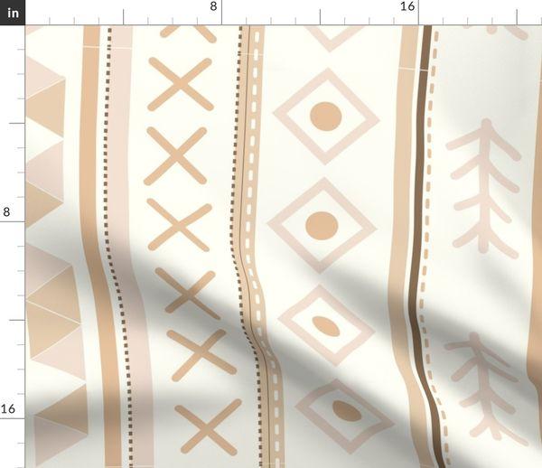 Stoff-Meterware geometrisch, Streifen, beige, weiß, Dreieck, Bettzeug,  Schlafzimmer, entspannend