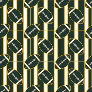 Green and Gold Stripes and Football Polka Dots