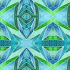 Glazed Whitework--blue and green