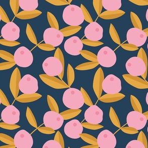 Citrus summer garden fruit and leaves botanical branch tropical winter design navy blue pink ochre