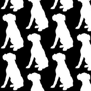 Boxer Dog Silhouette White on Black