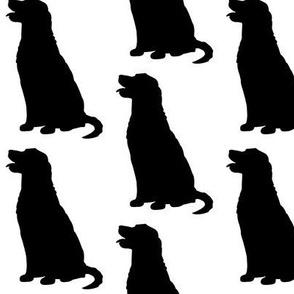 Golden Retriever Dog Silhouette Black on White