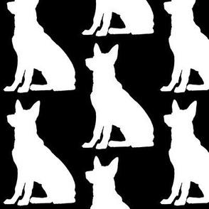 GSD German Shepherd, Dog Silhouette, Black on White