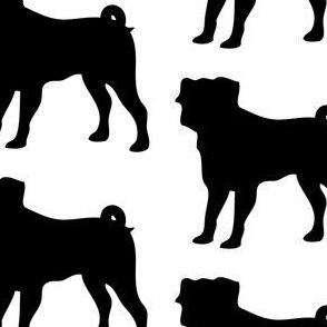 Pug Dog Silhouette, White on Black