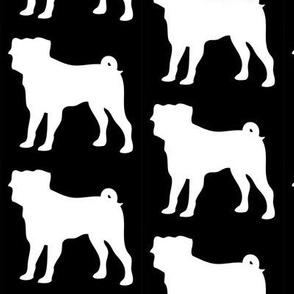 Pug Dog Silhouette, Black on White