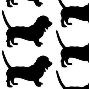 Bassett Hound Low Rider Dog Silhouette, Black on White