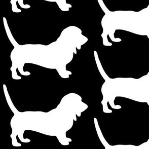 Bassett Hound Low Rider Dog Silhouette, White on Black