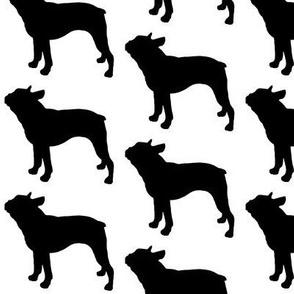 Boston Terrier Dog Silhouette, Black on White