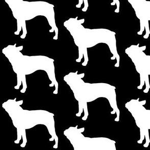 Boston Terrier Dog Silhouette, White on Black