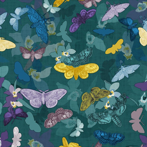 Moths & Orchids (Teal)