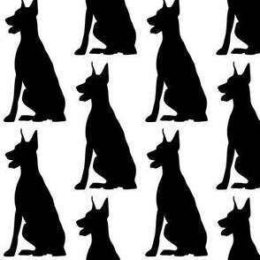 Doberman Dog Silhouette, Black on White