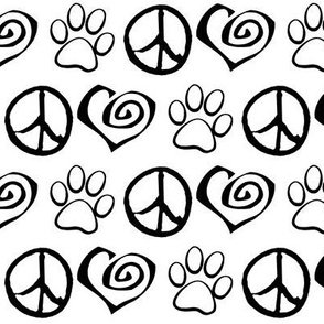 Peace Love Paw Dogs Cats, Black on White