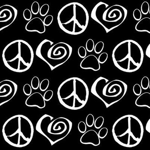 Peace Love Paw Dogs Cats, White on Black