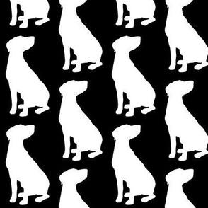 Labrador Catahoula Short Hair Dog Silhouette, White on Black