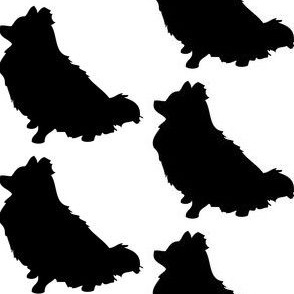 Pomeranian Dog Silhouette, white on Black