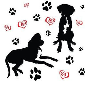 Great Dane Labrador Puppy Dog Silhouette, Black and White