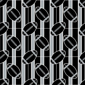 Silver Black Stripes and Football Polka Dots