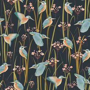 Kingfishers and Flowering Rush