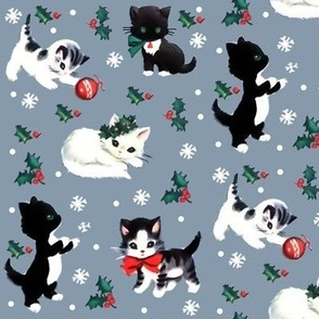 Merry Christmas Xmas cats kittens playing snow snowflakes grey gray black white green red bows mistletoe leafs leaves berry berries baubles cute vintage retro kitsch
