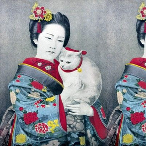 antique vintage japanese japan oriental chinoiserie culture kimono  asia asian traditional geisha maiko cats pets bell collar portraits woman lady