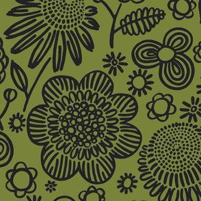 60s floral (black on olive)