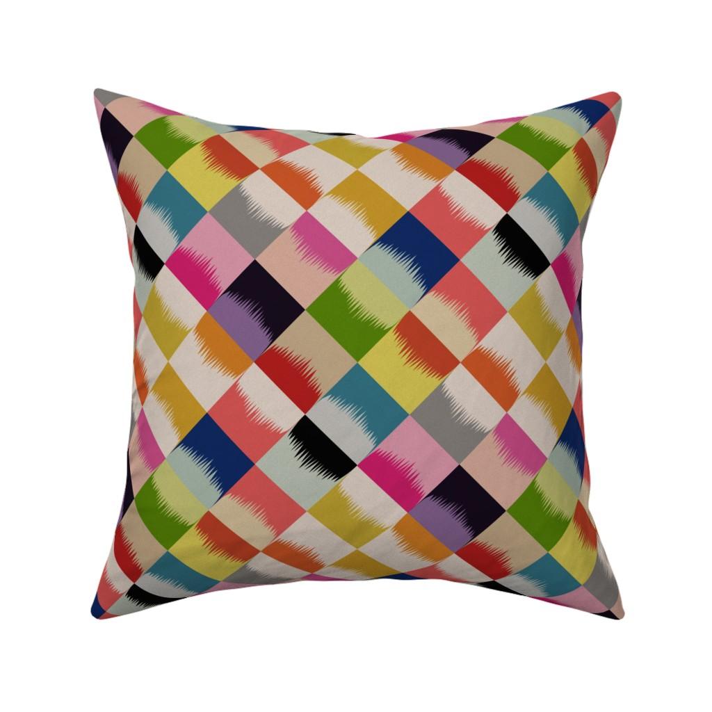 Catalan Throw Pillow featuring block party diamonds - linen by cinneworthington