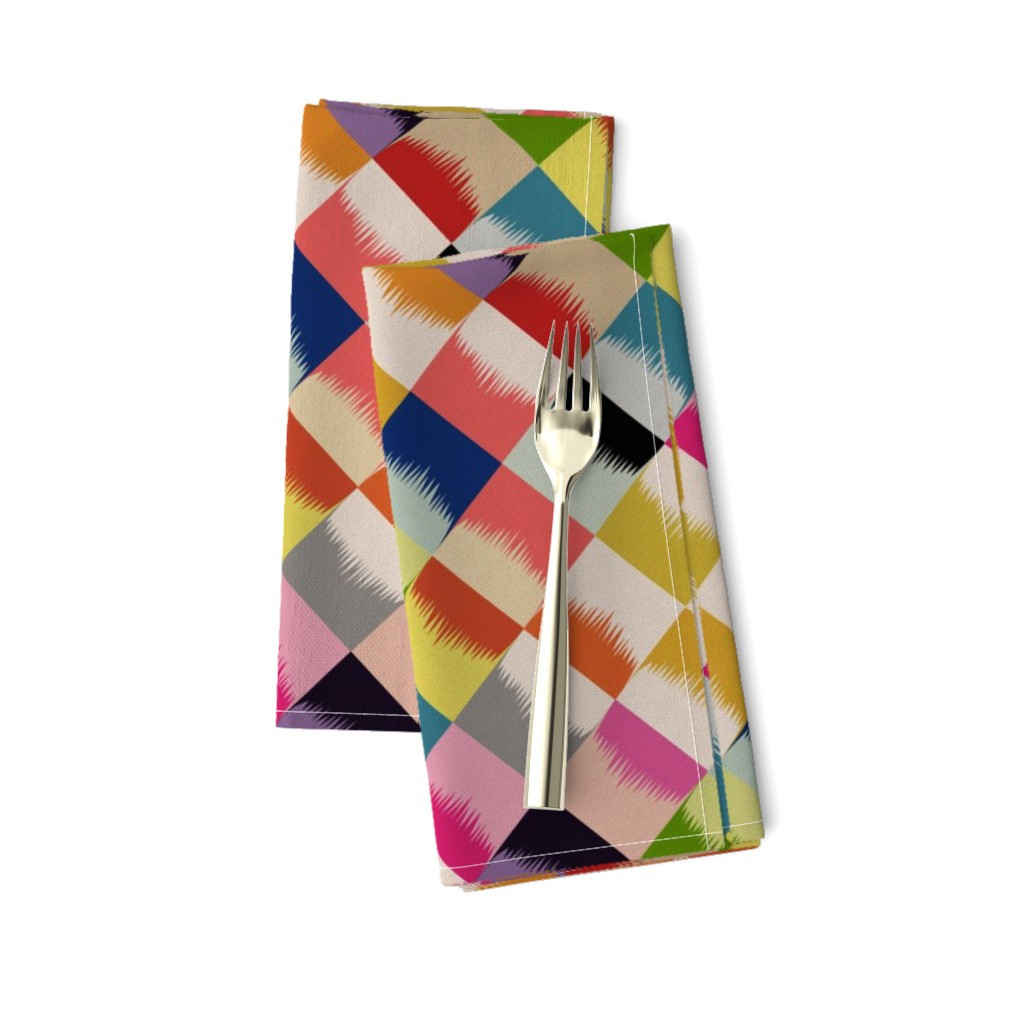 Amarela Dinner Napkins featuring block party diamonds - linen by cinneworthington