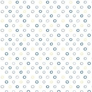 whimsical small circles blue gray yellow on white