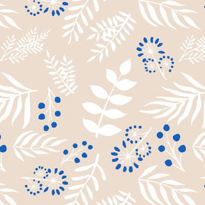 large white and blue leaves on beige