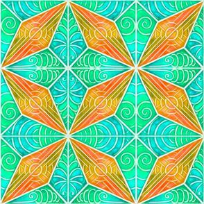 Whitework Diamond Quilt Square_ aqua and orange